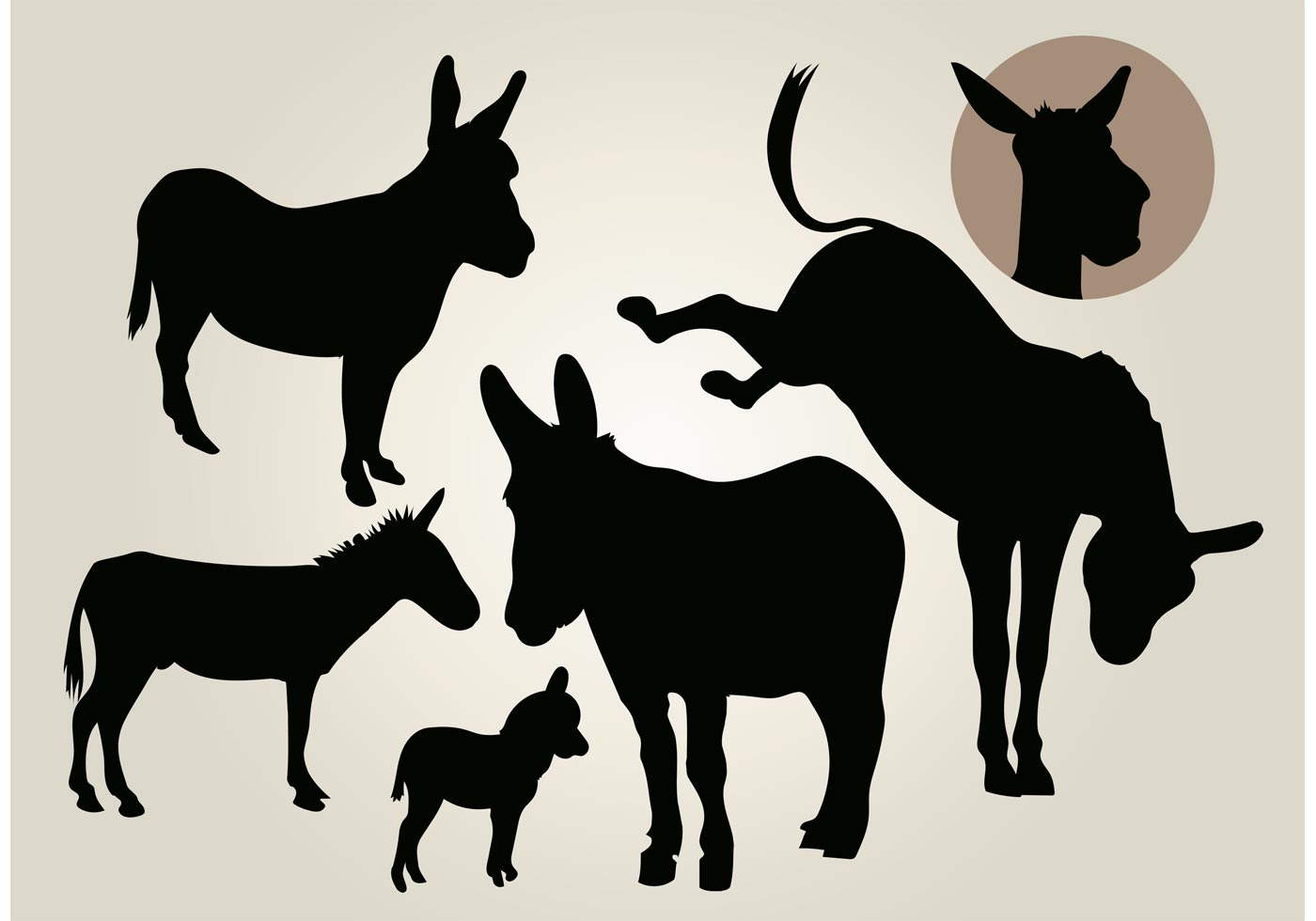 Donkey Silhouette Free Vector Art.