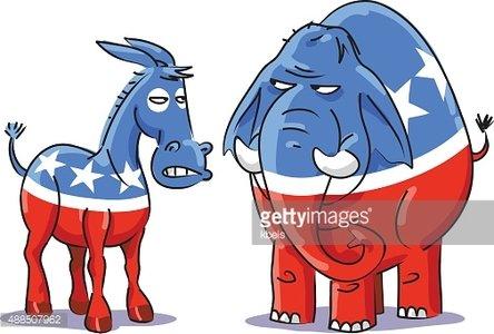 Democratic Donkey Vs Republican Elephant Clipart Image.