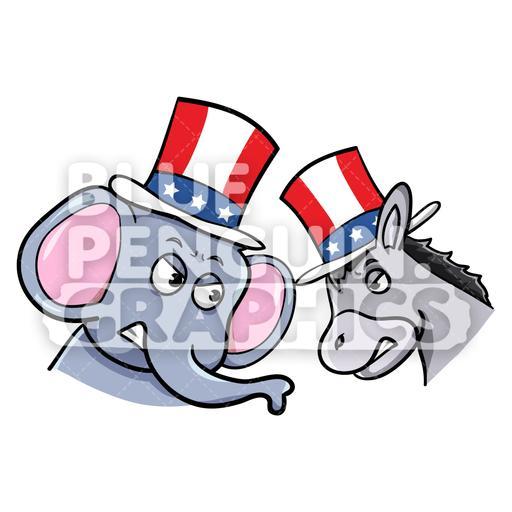 Fighting Elephant and Donkey Vector Cartoon Clipart Illustration.