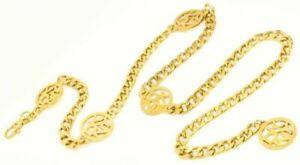 Details about Vintage Donna Karan New York DKNY Logo Gold Tone Metal Chain  Link Belt Necklace.