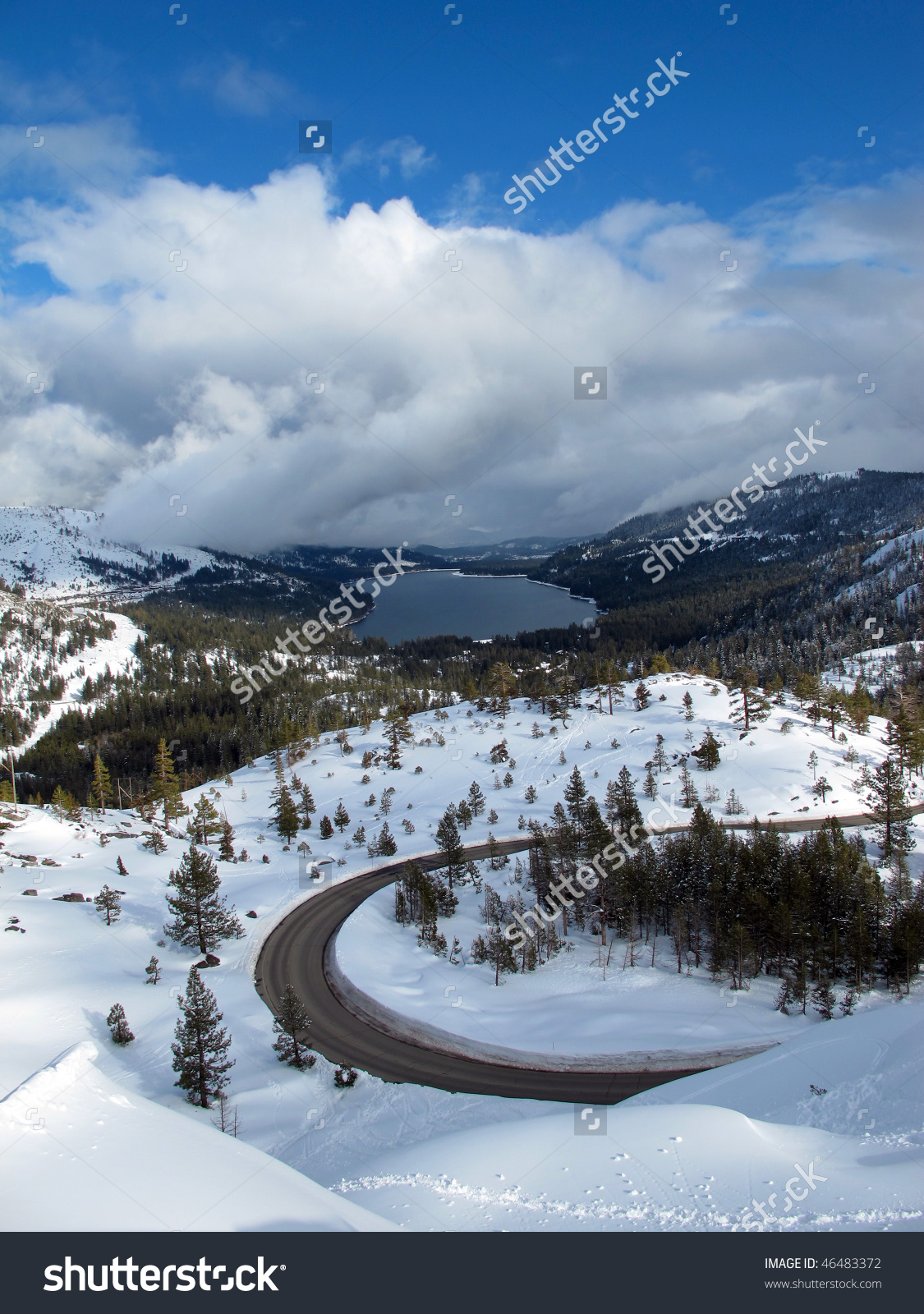 Donner Lake Snow Donner Summit Near Stock Photo 46483372.