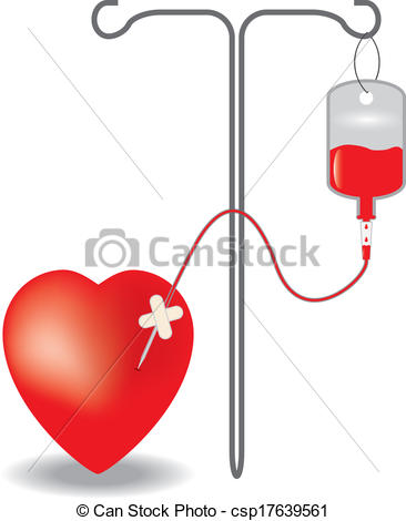 Clip Art Vector of Concept of blood donation. EPS10 vector.