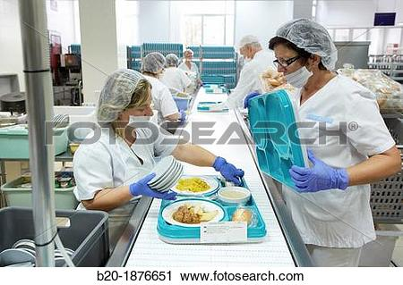 Stock Photography of Food serving line, Hospital meal preparation.