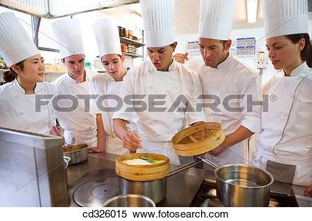 Stock Image of Cooking asparagus. Luis Irizar cooking school.