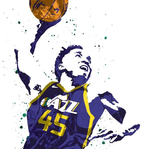 Donovan Mitchell Utah Jazz Sports Art Print Basketball.