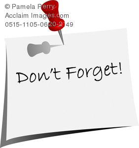 Clip Art Image of a Push Pin in a Don't Forget Note.