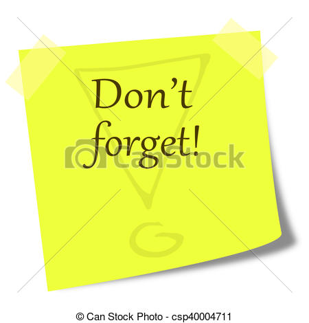 dont forget note on post it illustr.
