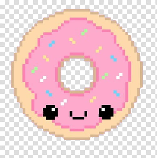 Pixel, Pink Donut transparent background PNG clipart.