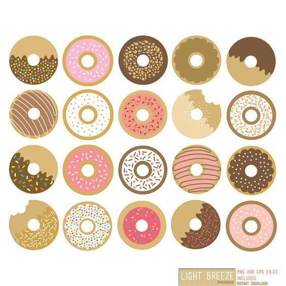 Donuts Digital Clipart & Vector Set.