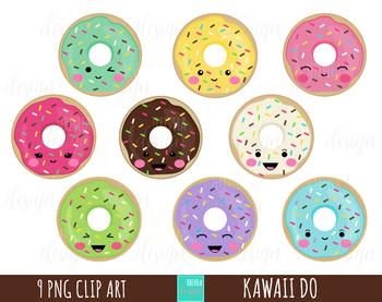 DONUTS clipart, food clipart, sweet treats clipart, kawaii clipart, kawaii  donut.