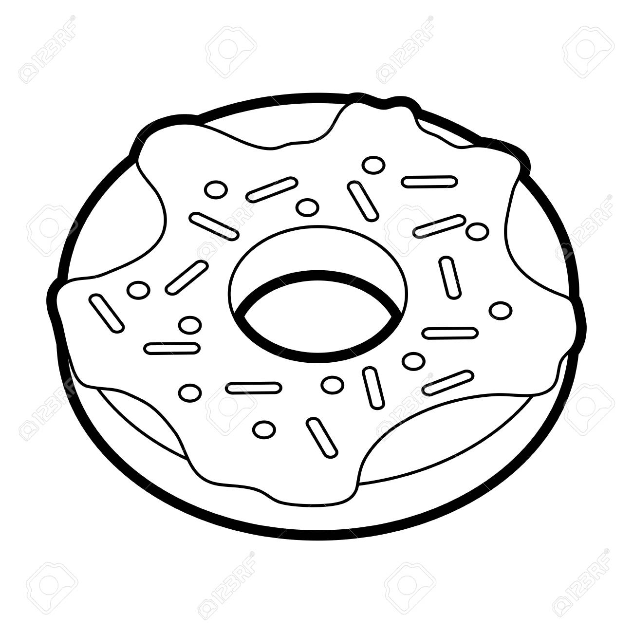Clipart Of A Black And White Chubby Woman Leaping With Donut In Hand.