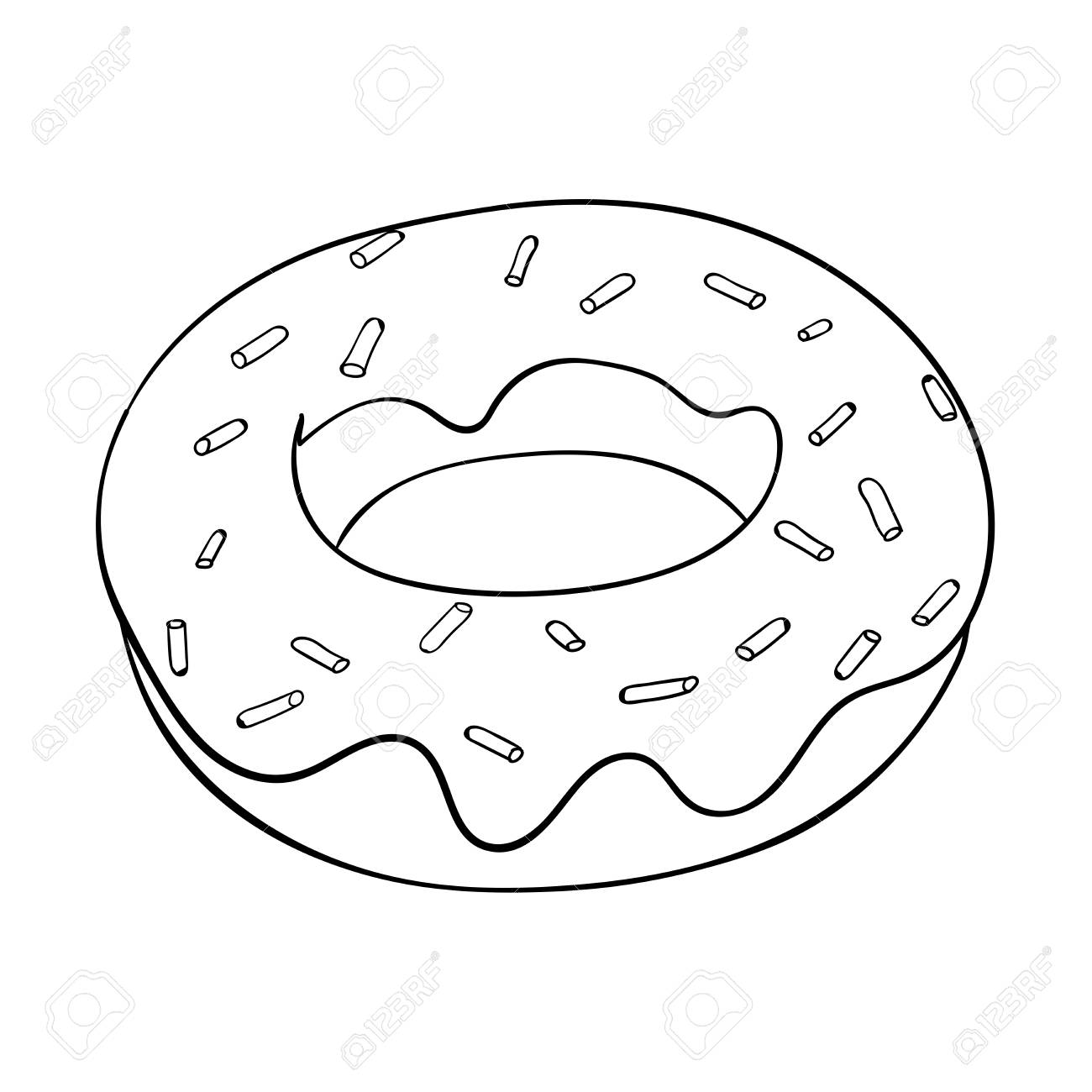 Donut. Black and white outline drawing. Vector illustration isolated...