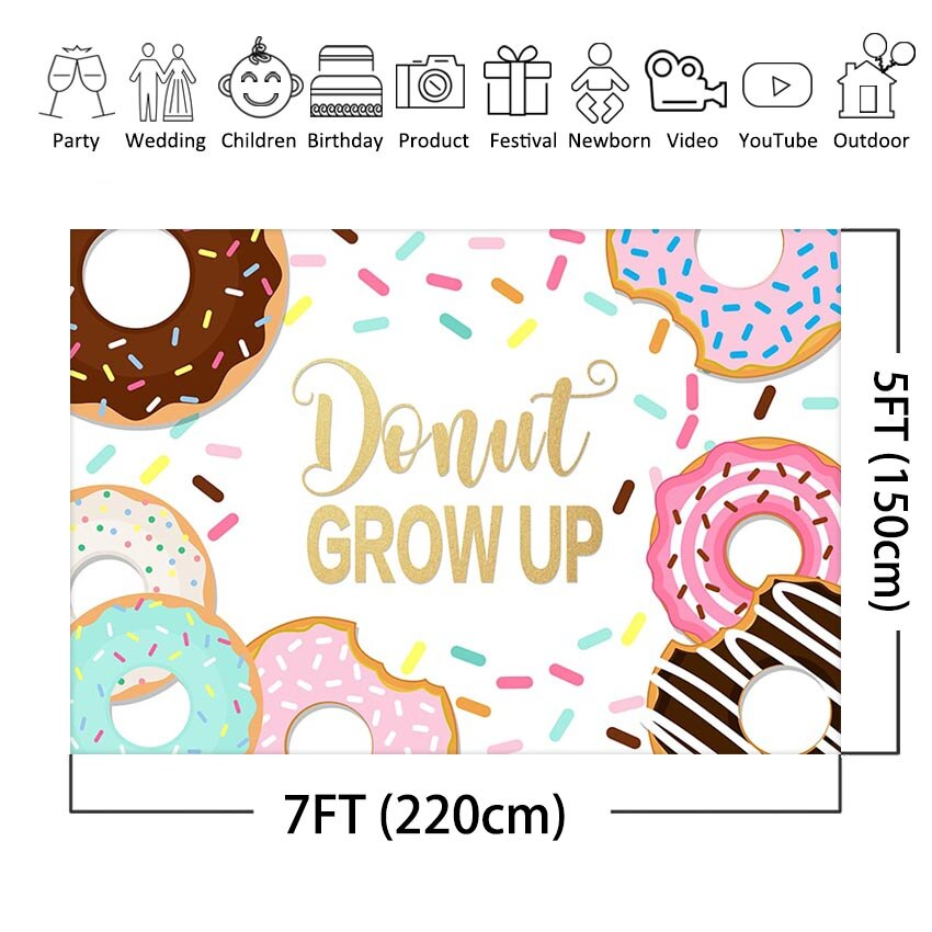 MEHOFOTO Donut Birthday Photography Backdrop Donut Grow Up Sprinkles Kids  Baby Birthday Party Photo Background Decorations.