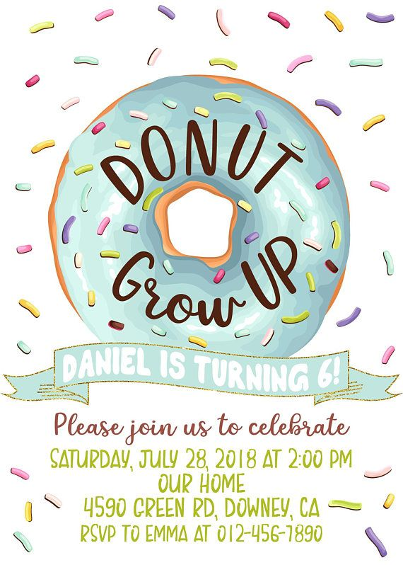 Donut Grow UP invitation for boy, Donuts Birthday Invite for.