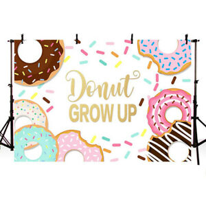 Details about Donut Birthday Photography Backdrop Donut Grow Up Sprinkles  Kids Baby Birthday.