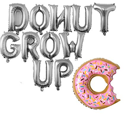 Rose&Wood Donut Grow up Foil Letter Balloons,Donut Grow up Theme,Donut  Theme Birthday,Donut Theme Party,16\