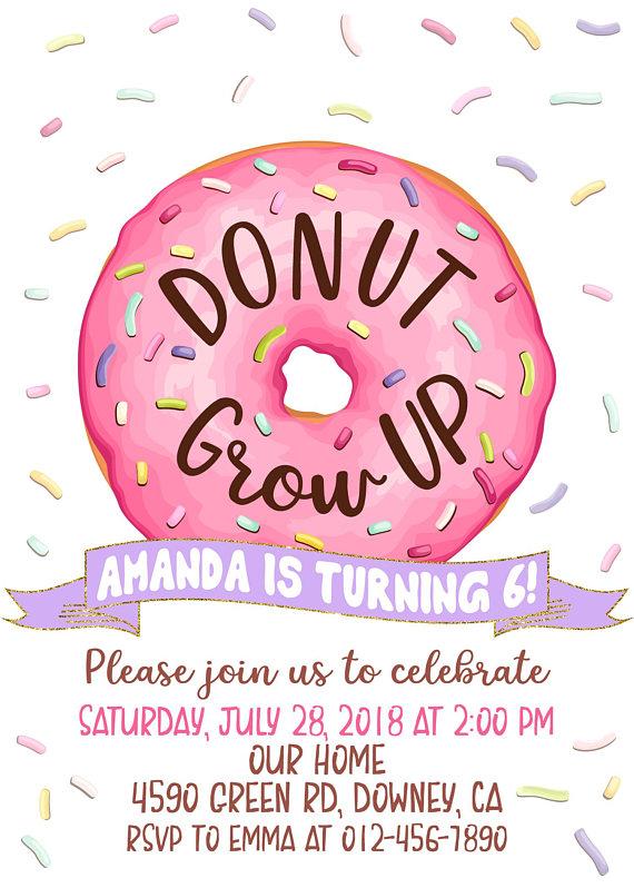 Donut Grow Up invitation, Donuts Birthday Invitation, Donuts.