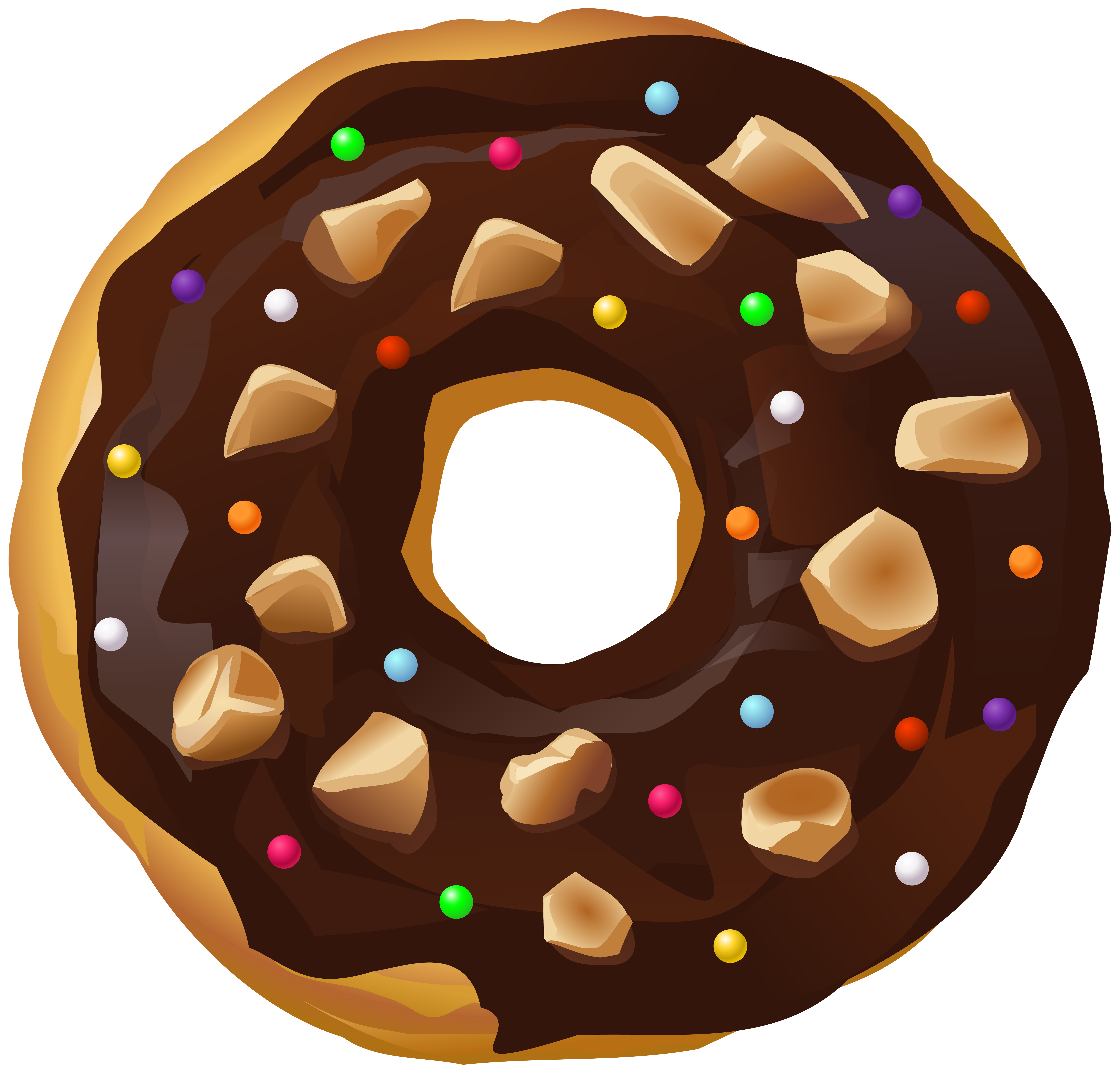 Chocolate Donut Transparent PNG Clip Art Image.
