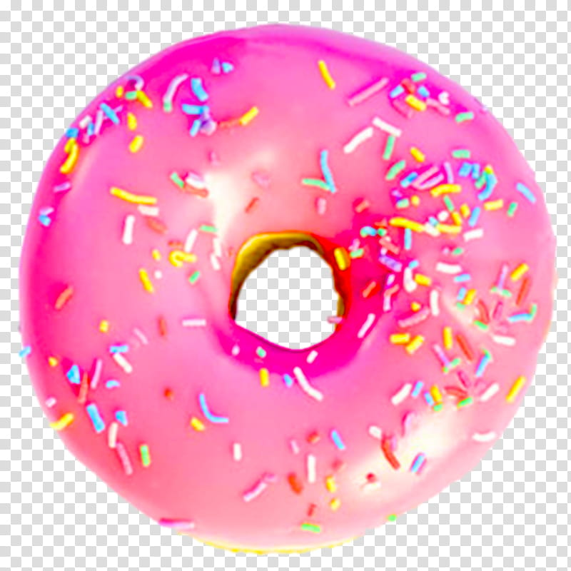 pink donut transparent background PNG clipart.