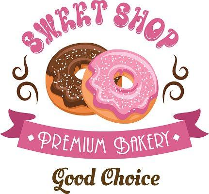 Donut shop retro icon design with glazed doughnuts Clipart.