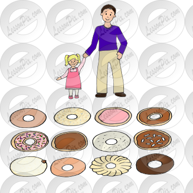 donuts with dad Picture for Classroom / Therapy Use.