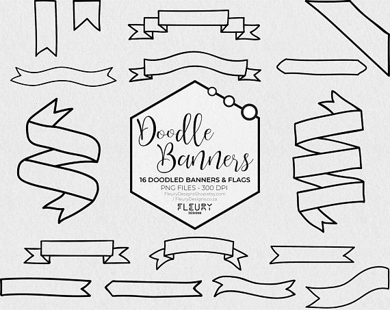 Doodled Banners And Flags Clipart.