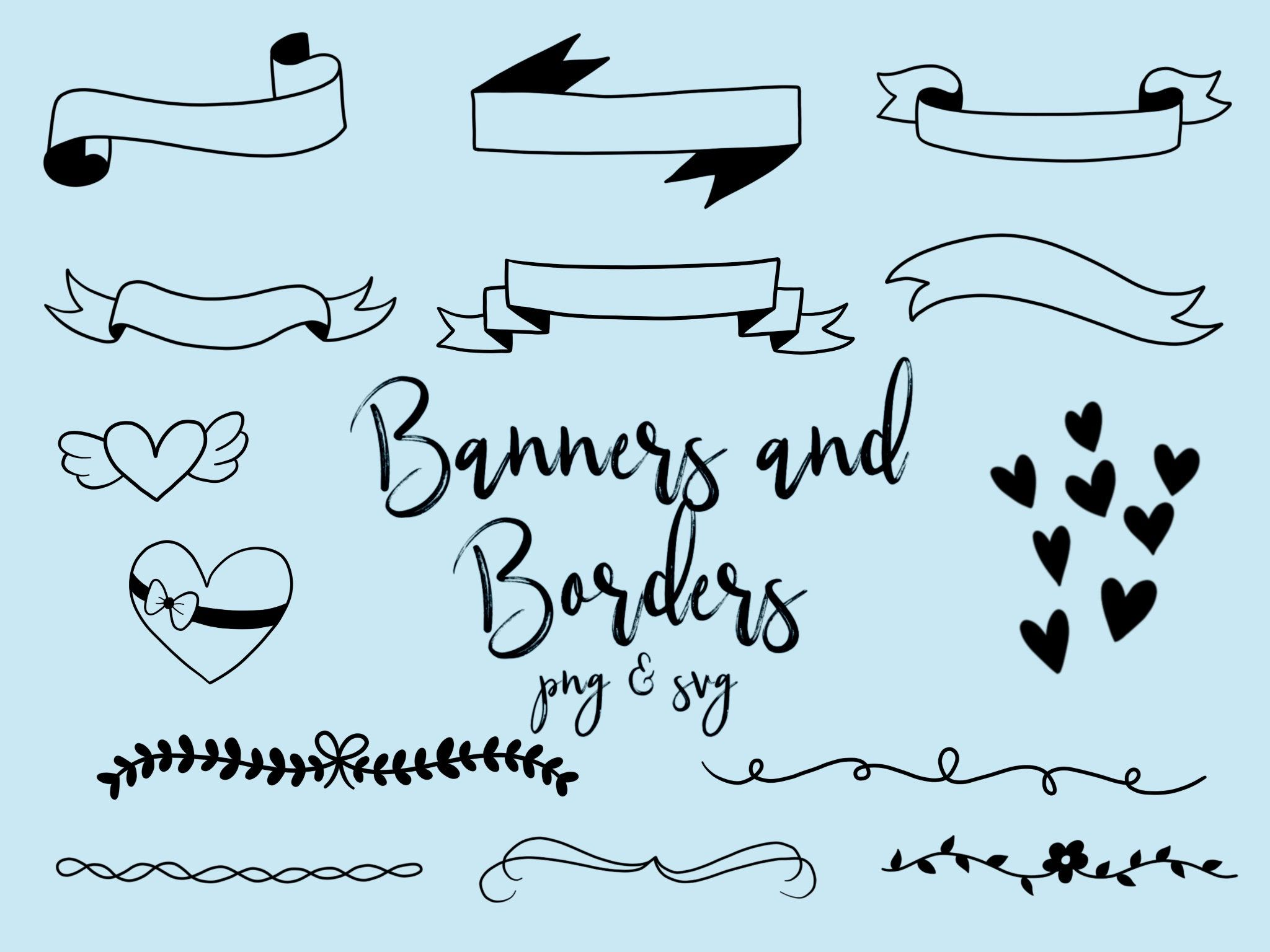 BANNERS and BORDERS CLIPART, clip art, cute, doodles, vector.