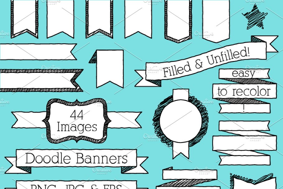 Doodle Banners Vectors and Clipart.