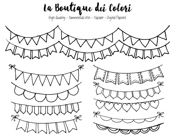 Hand Drawn Bunting Banners doodle Digital Clip Art. Party Clipart.