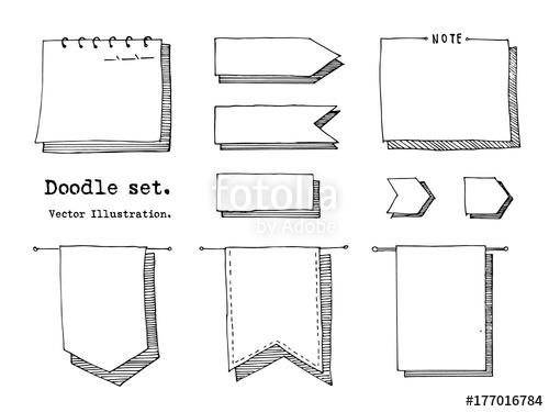 Hand drawn cartoon vector set of paper sheet, tag, sticky note.