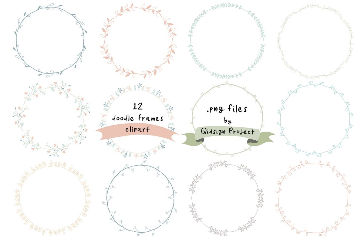 Doodle Wreath Frames Clipart and banner PNG.