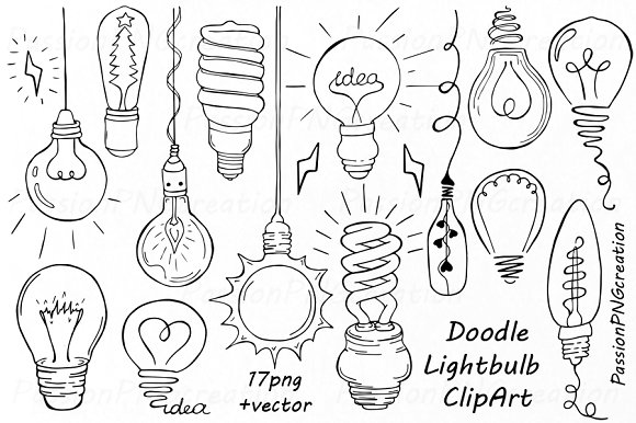 Doodle Light Bulb Clipart ~ Illustrations on Creative Market.
