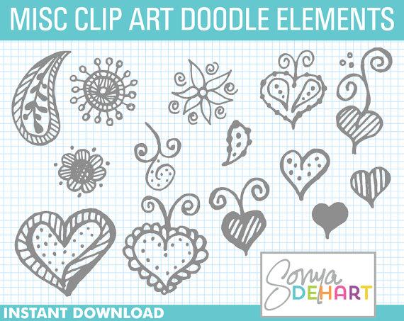 Doodle Clipart, Hand Drawn Clipart, Clipart Paisley, Clipart.