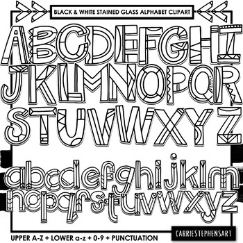 Black & White Stained Glass Alphabet Line Doodle ClipArt, Bulletin Board  Letters.