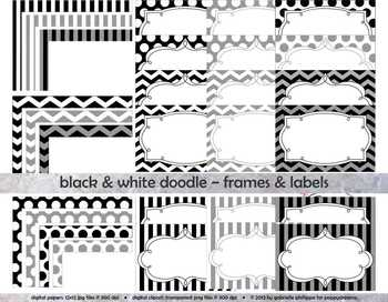 Black & White Doodle Frames and Labels Digital Borders Clipart by  Poppydreamz.