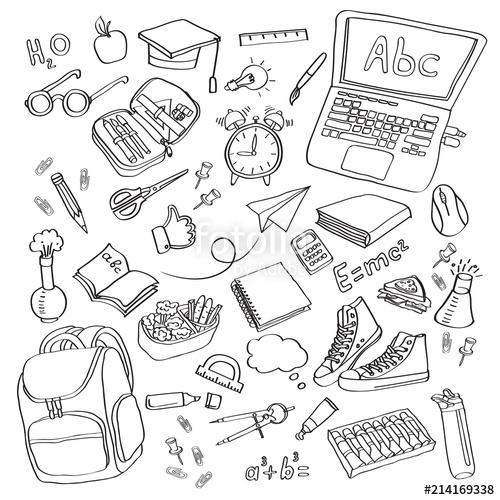 School clipart Vector doodle school icons symbols
