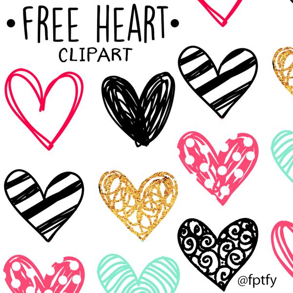 Free Doodle Heart Clip Art.