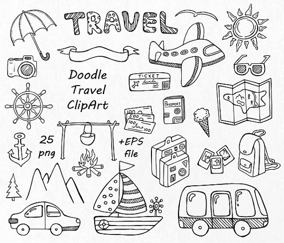 Doodle travel clipart, Hand drawn Summer clipart, Digital.