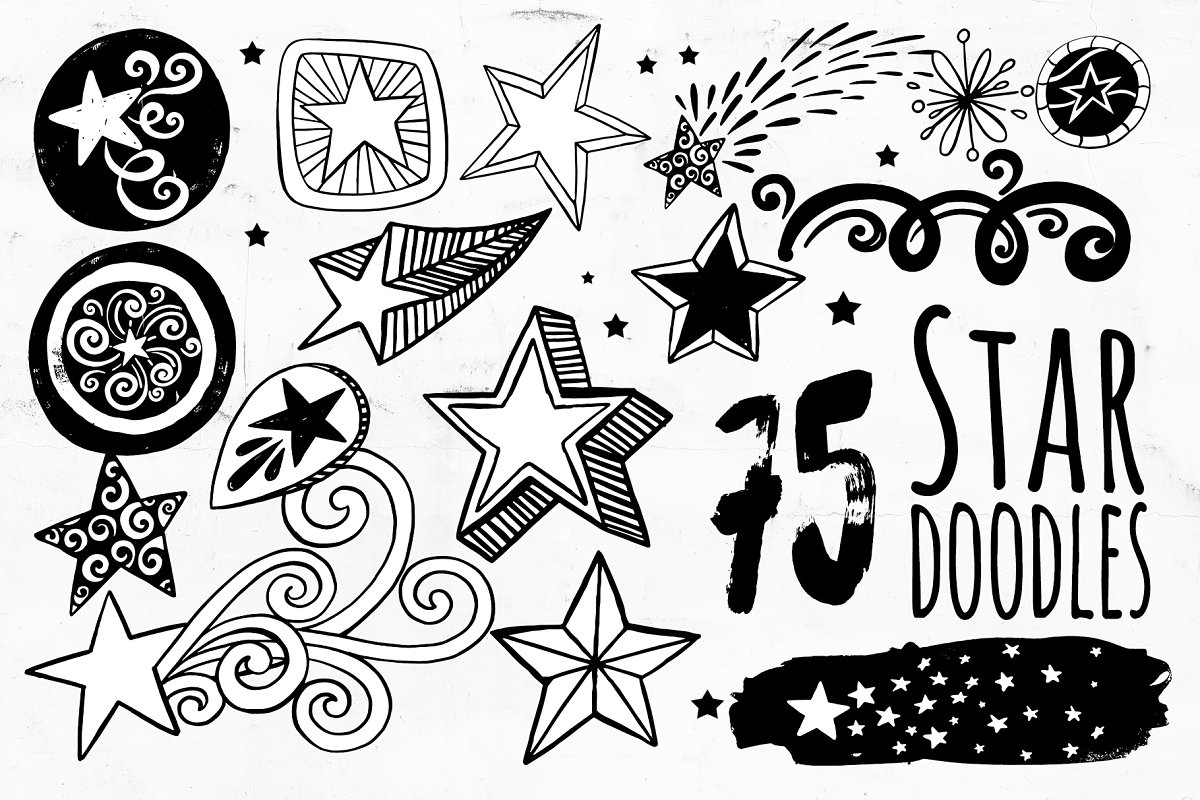 Star PNG Vector, Star Doodle ClipArt ~ Illustrations.