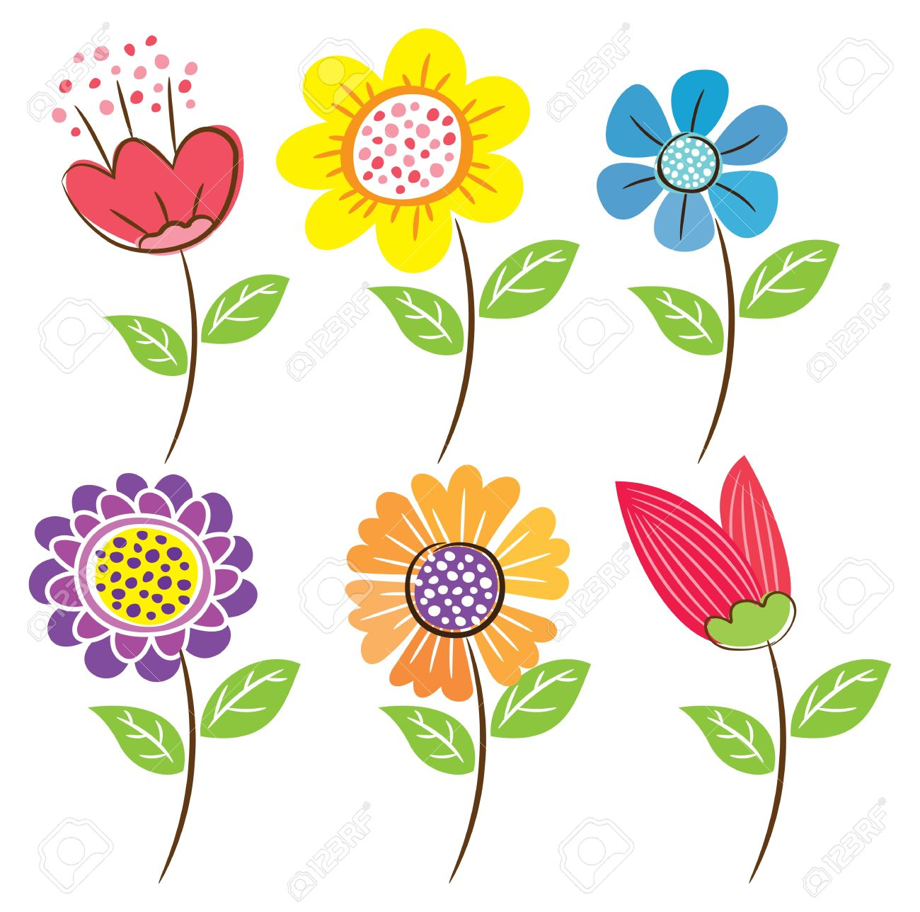 Set Of Flower Doodle Royalty Free Cliparts, Vectors, And Stock.