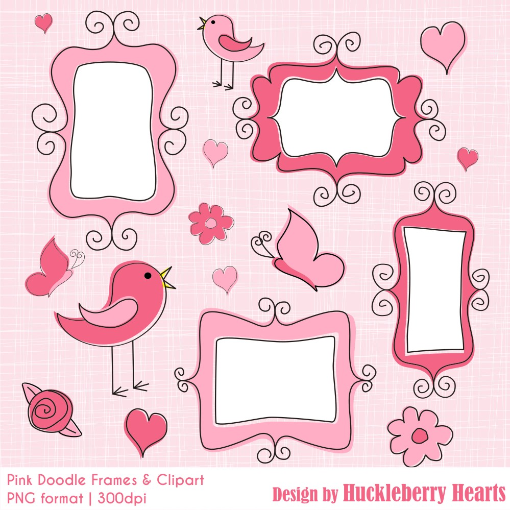 Pink Doodle Frames and Clipart.