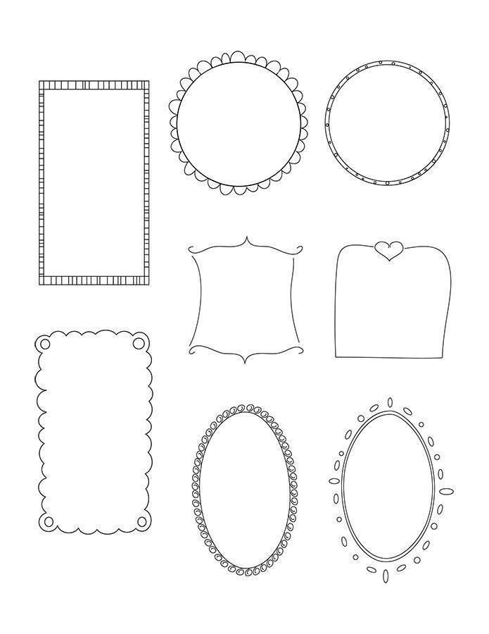 8 Doodle Frames Clipart.