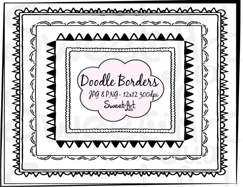 Border Clipart, Doodle Frames Digital, Doodle Frame Border, Doodle Frame  Clipart, Hand Drawn Frames Clipart, Clipart Borders, Commercial Use.