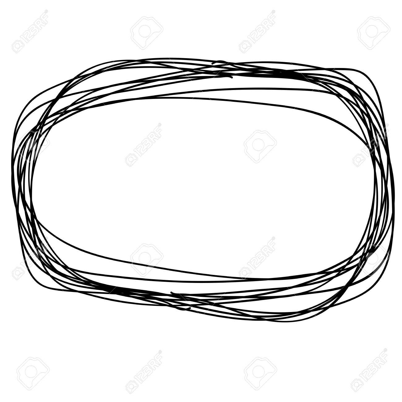 Hand drawn Circle sketch Doodle Frames. Vector illustration.