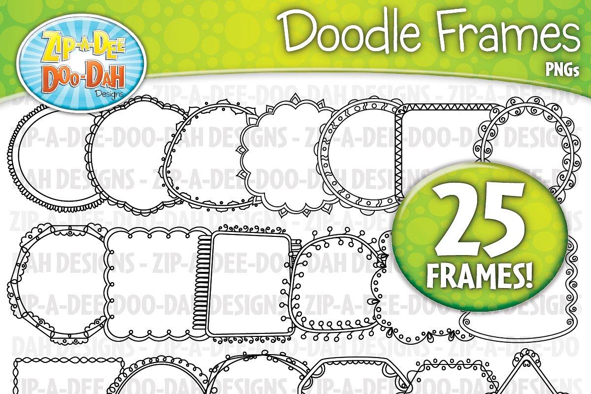Thin Doodle Frames Clipart Set 1.