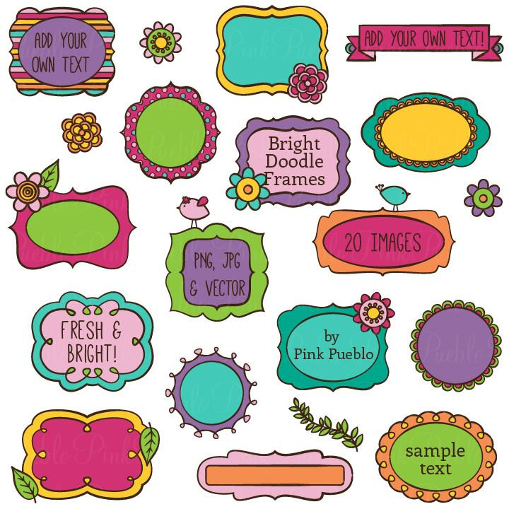 Bright Doodle Frames Clipart and Vectors.