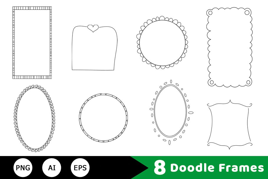 8 Doodle Frames Hand Drawn Clipart.