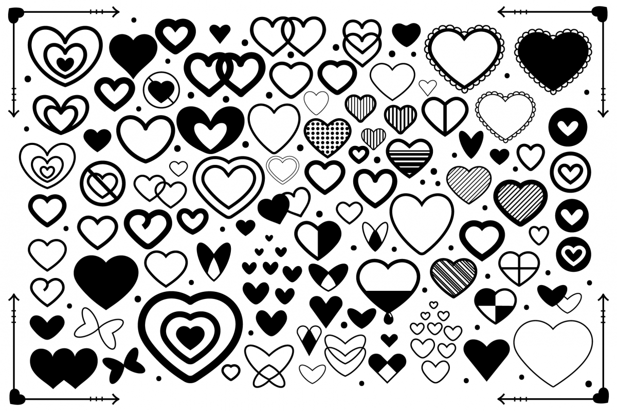 Simple Doodle Heart Clip Art Set.