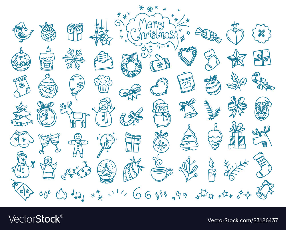 Christmas doodle elements clipart.