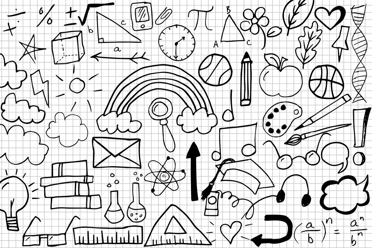 Schools Doodle Clipart ~ Illustrations ~ Creative Market.